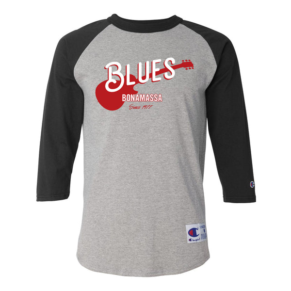 Certified Blues Champion Baseball T-Shirt (Unisex) - Black/Heather Grey