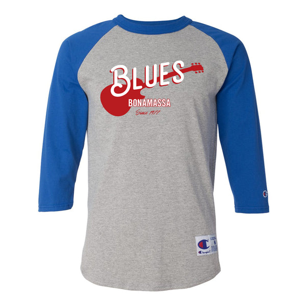Certified Blues Champion Baseball T-Shirt (Unisex) - Royal/Heather Grey