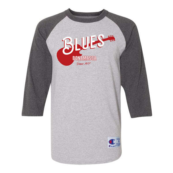 Certified Blues Champion Baseball T-Shirt (Unisex) - Charcoal/Heather Grey