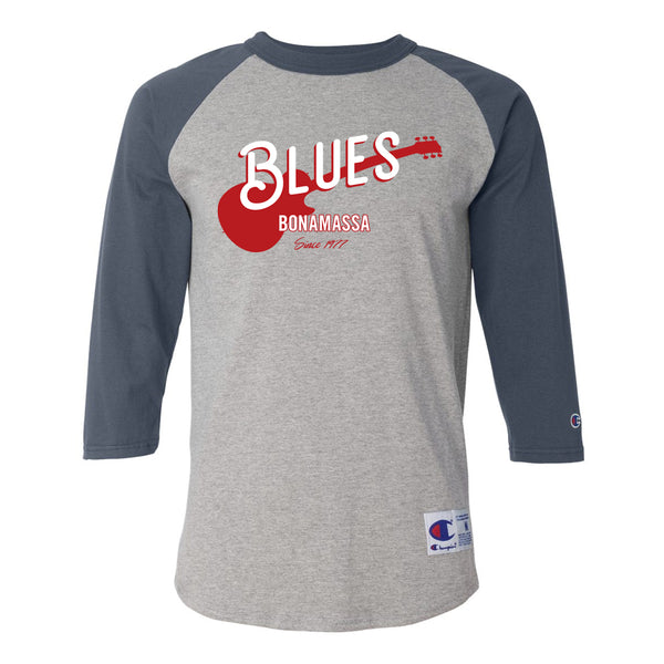 Certified Blues Champion Baseball T-Shirt (Unisex) - Navy/Heather Grey