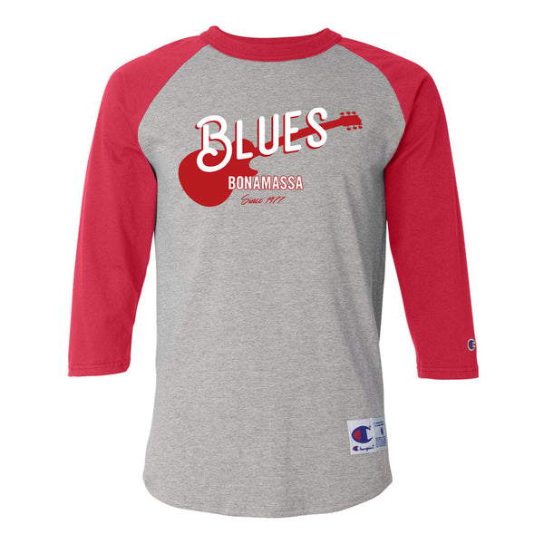 Certified Blues Champion Baseball T-Shirt (Unisex) - Red/Heather Grey