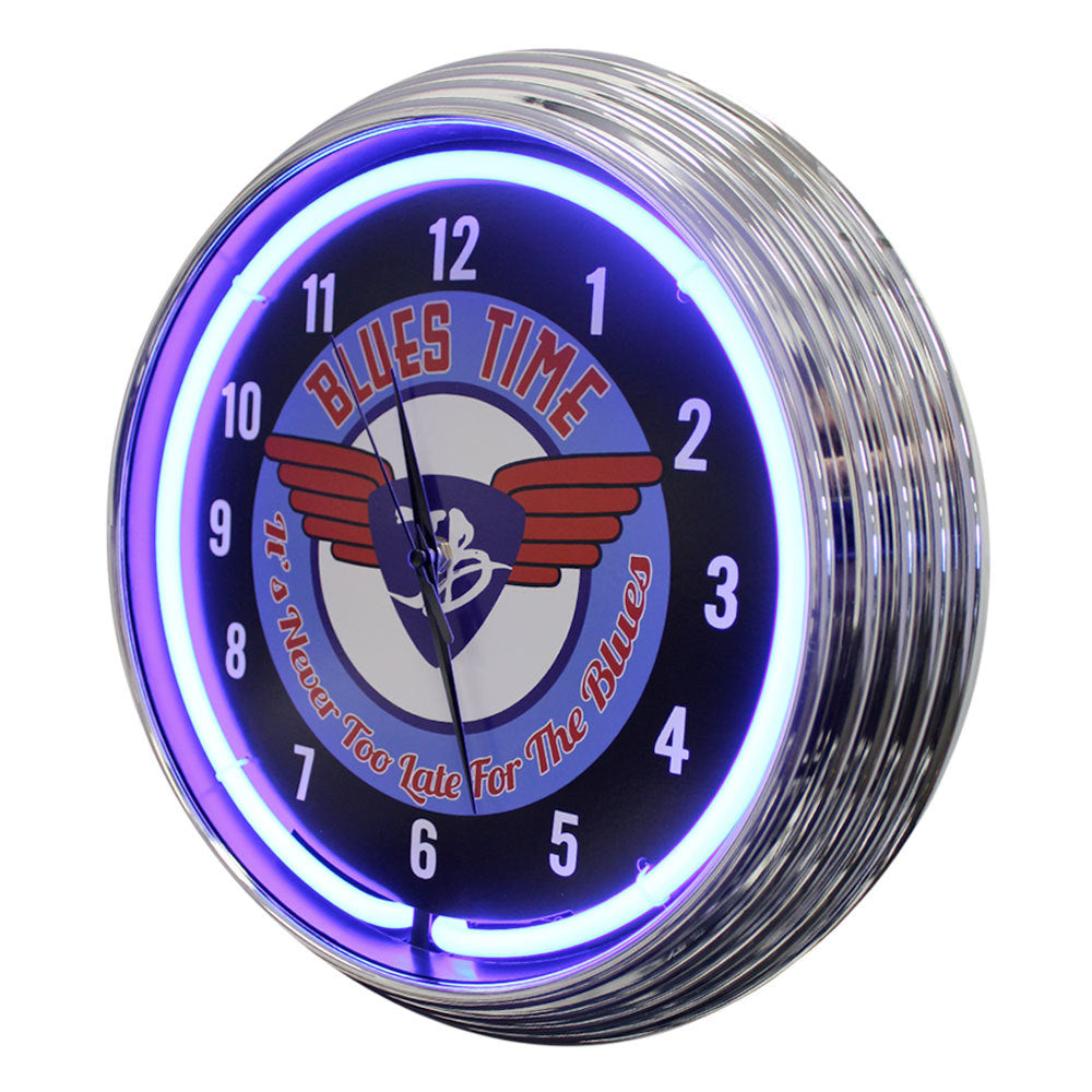 It's Blues Time Neon Clock