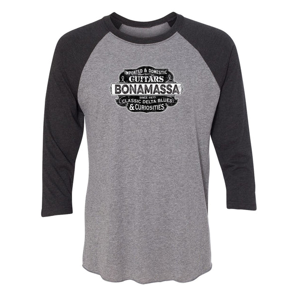 Blues & Curiosities 3/4 Sleeve T-Shirt (Unisex) - Vintage Black/ Heather Grey