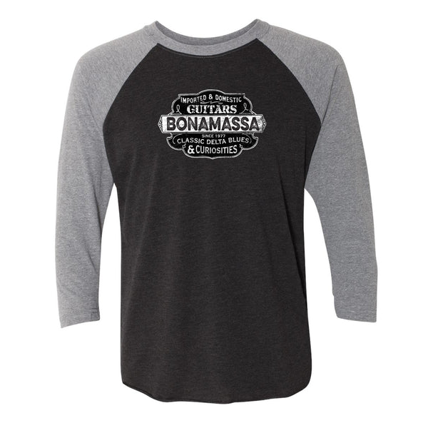 Blues & Curiosities 3/4 Sleeve T-Shirt (Unisex) - Heather Grey/ Black