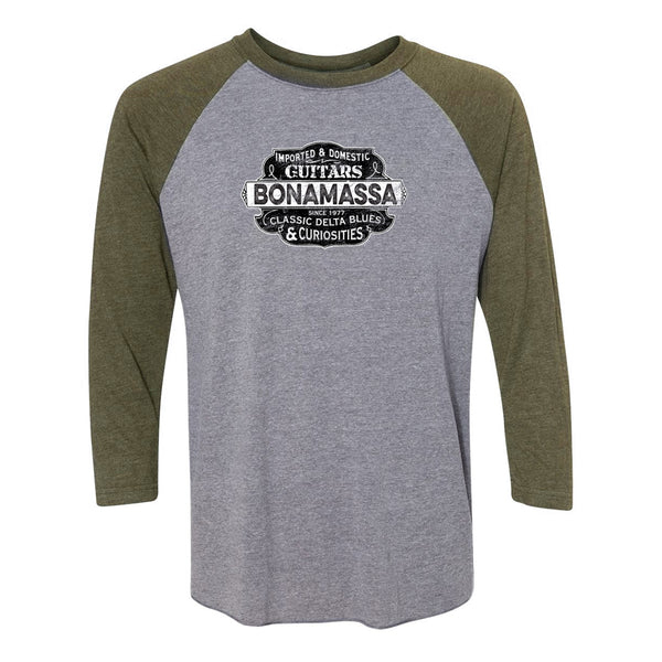 Blues & Curiosities 3/4 Sleeve T-Shirt (Unisex) - Military/ Heather Grey