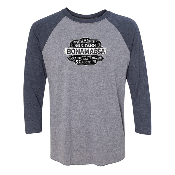 Blues & Curiosities 3/4 Sleeve T-Shirt (Unisex) - Navy/ Heather Grey