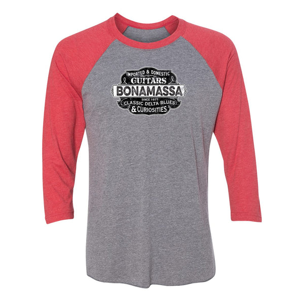 Blues & Curiosities 3/4 Sleeve T-Shirt (Unisex) - Red/ Heather Grey