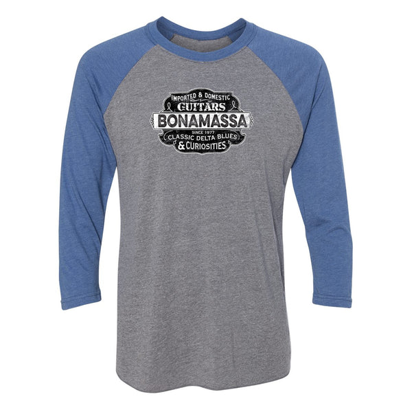 Blues & Curiosities 3/4 Sleeve T-Shirt (Unisex) - Royal/ Heather Grey