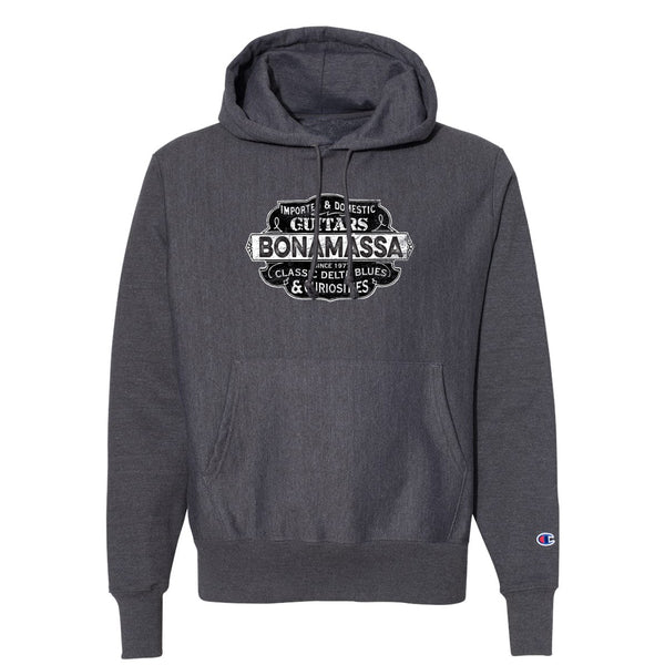 Blues & Curiosities Champion Hooded Pullover (Unisex) - Charcoal