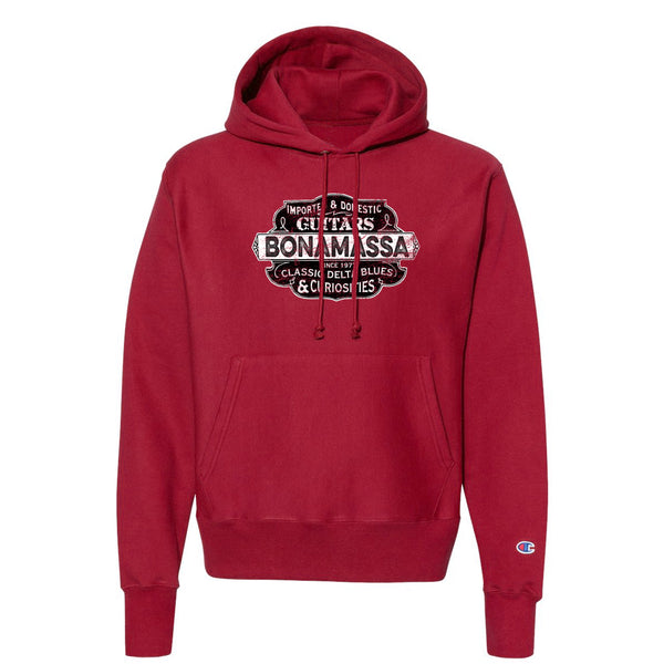 Blues & Curiosities Champion Hooded Pullover (Unisex) - Red