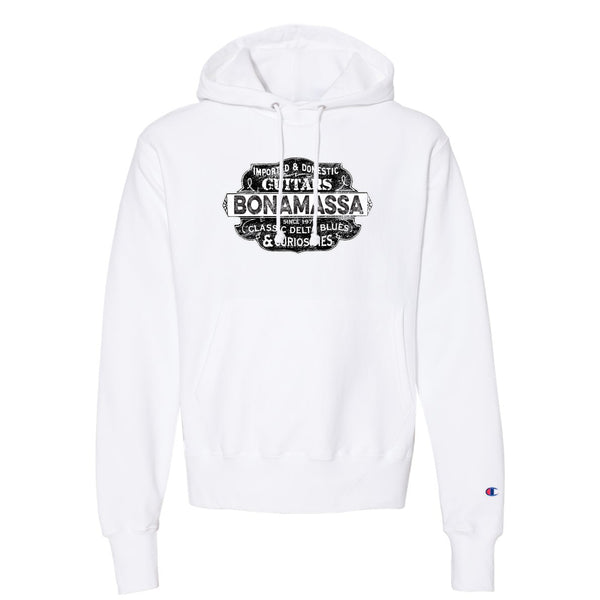 Blues & Curiosities Champion Hooded Pullover (Unisex) - White