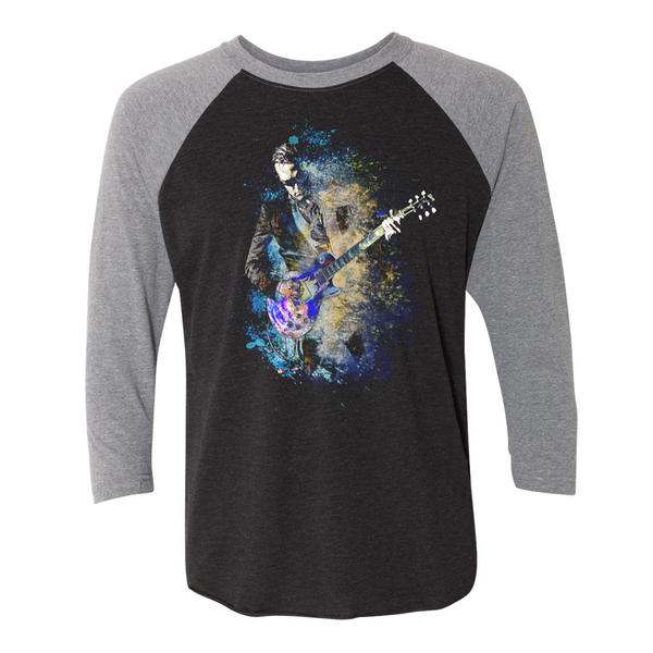 Blues Explosion 3/4 Sleeve T-Shirt (Unisex) - Heather Grey/ Black