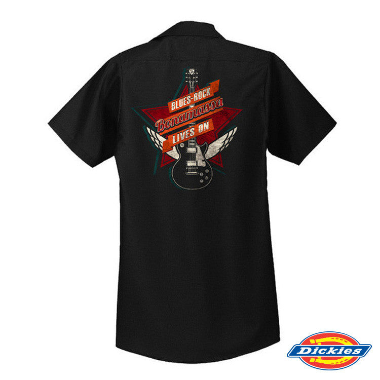 Blues Rock Lives On Dickies Short Sleeve Work Shirt (Men)