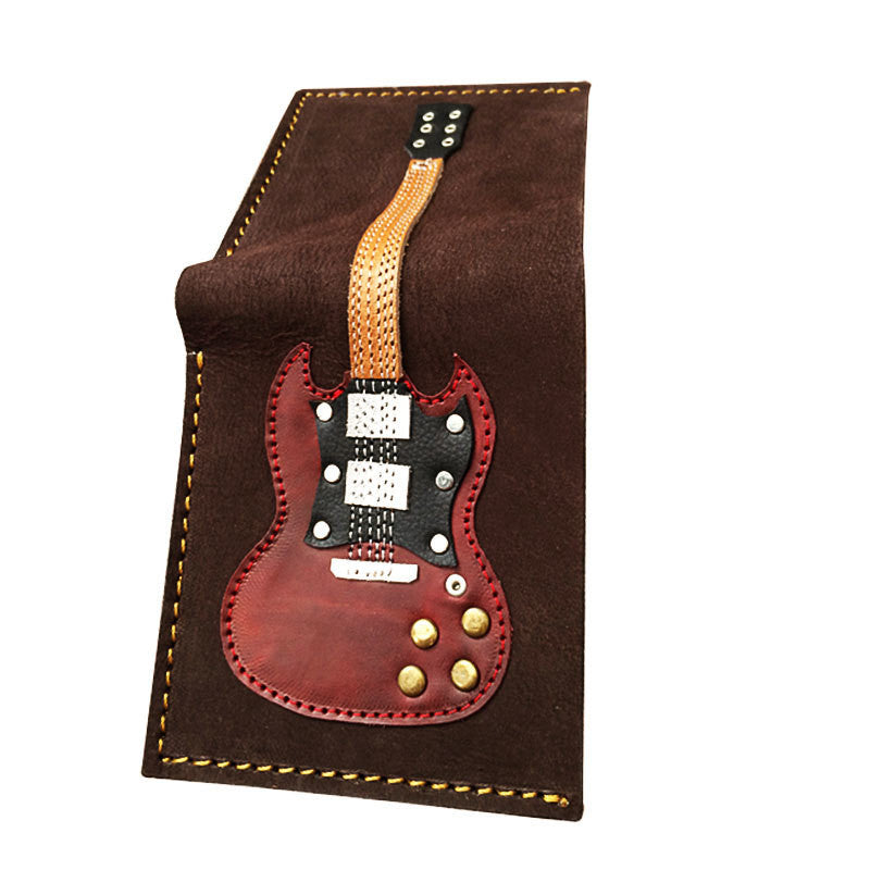 Double Cutaway Electric Guitar Handmade Genuine Leather Wallet