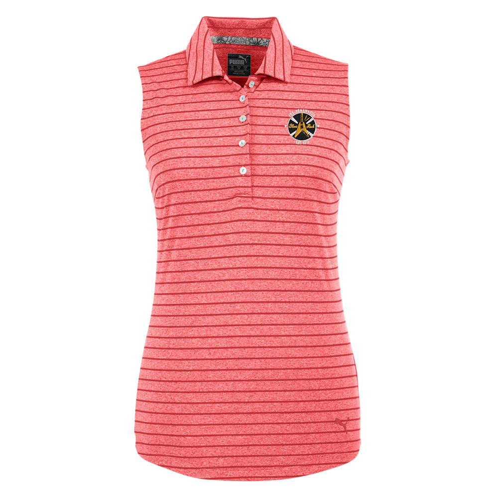 Electric Flying V Puma Golf Rotation Stripe Sleeveless Polo (Women) - Red