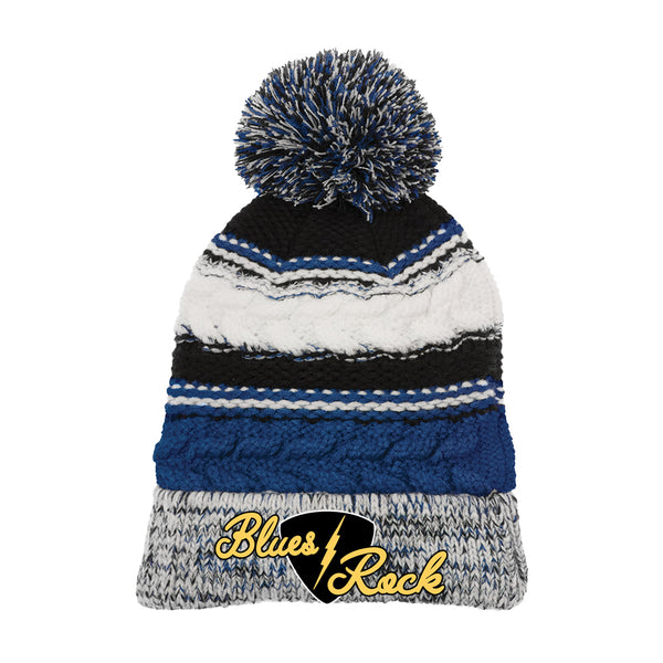 Electric Flying V Pom Pom Beanie - Royal Blue