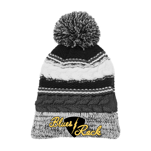 Electric Flying V Pom Pom Beanie - Black