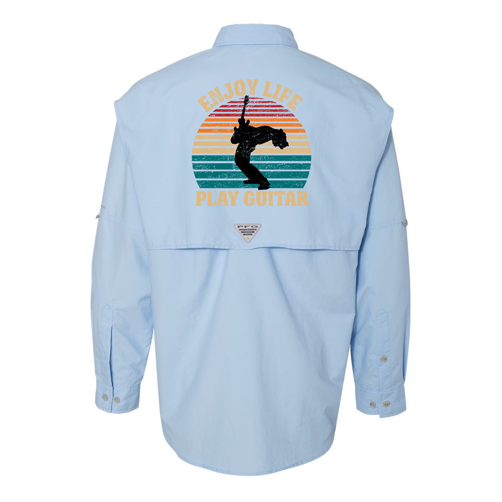 Vintage Enjoy Life, Play Guitar Columbia PFG Bahama II Long Sleeve (Men) - Sail