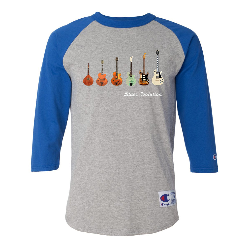 Blues Evolution Champion Baseball T-Shirt (Unisex) - Royal/Heather Grey