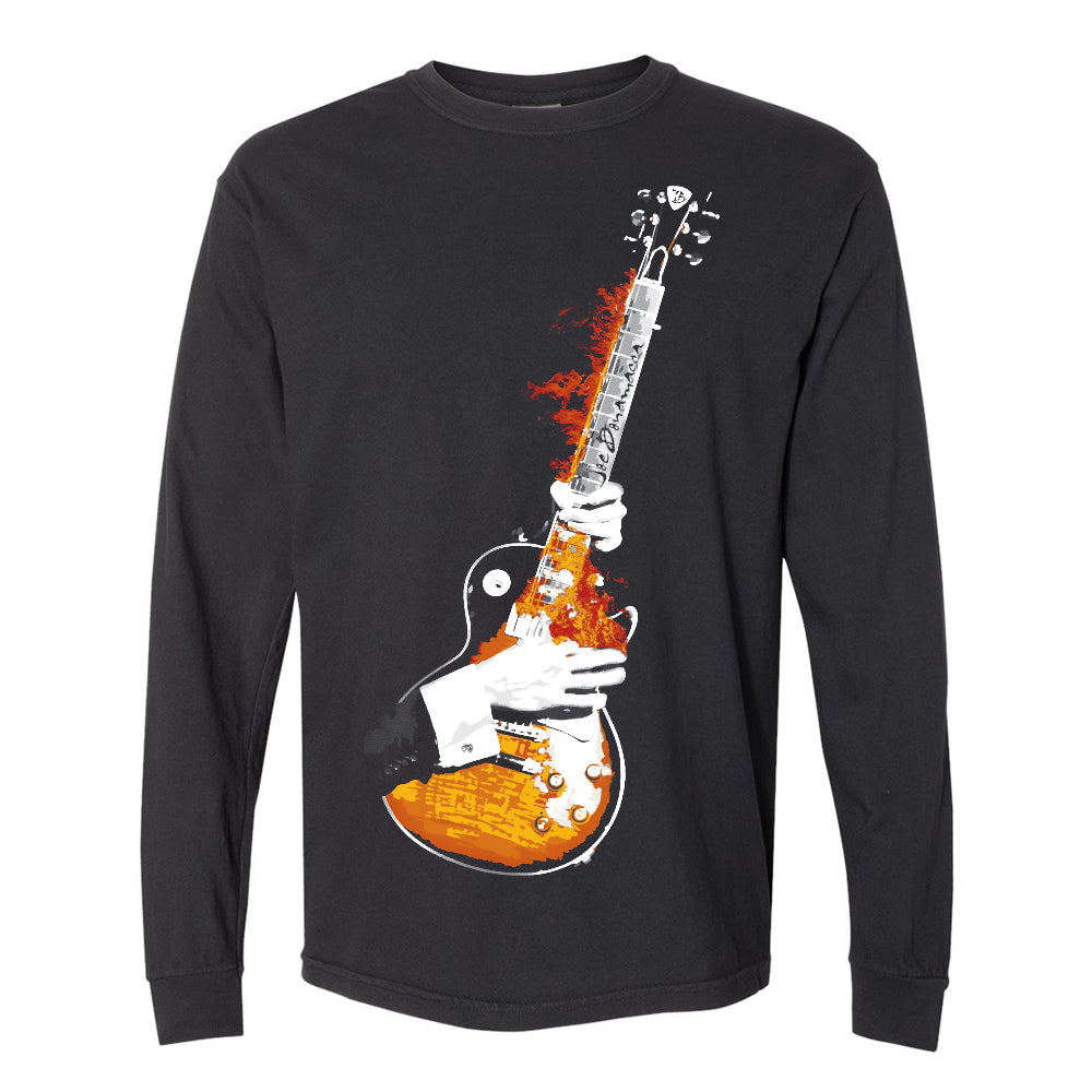 Blues On Fire Comfort Colors Long Sleeve T-Shirt (Unisex) - Black