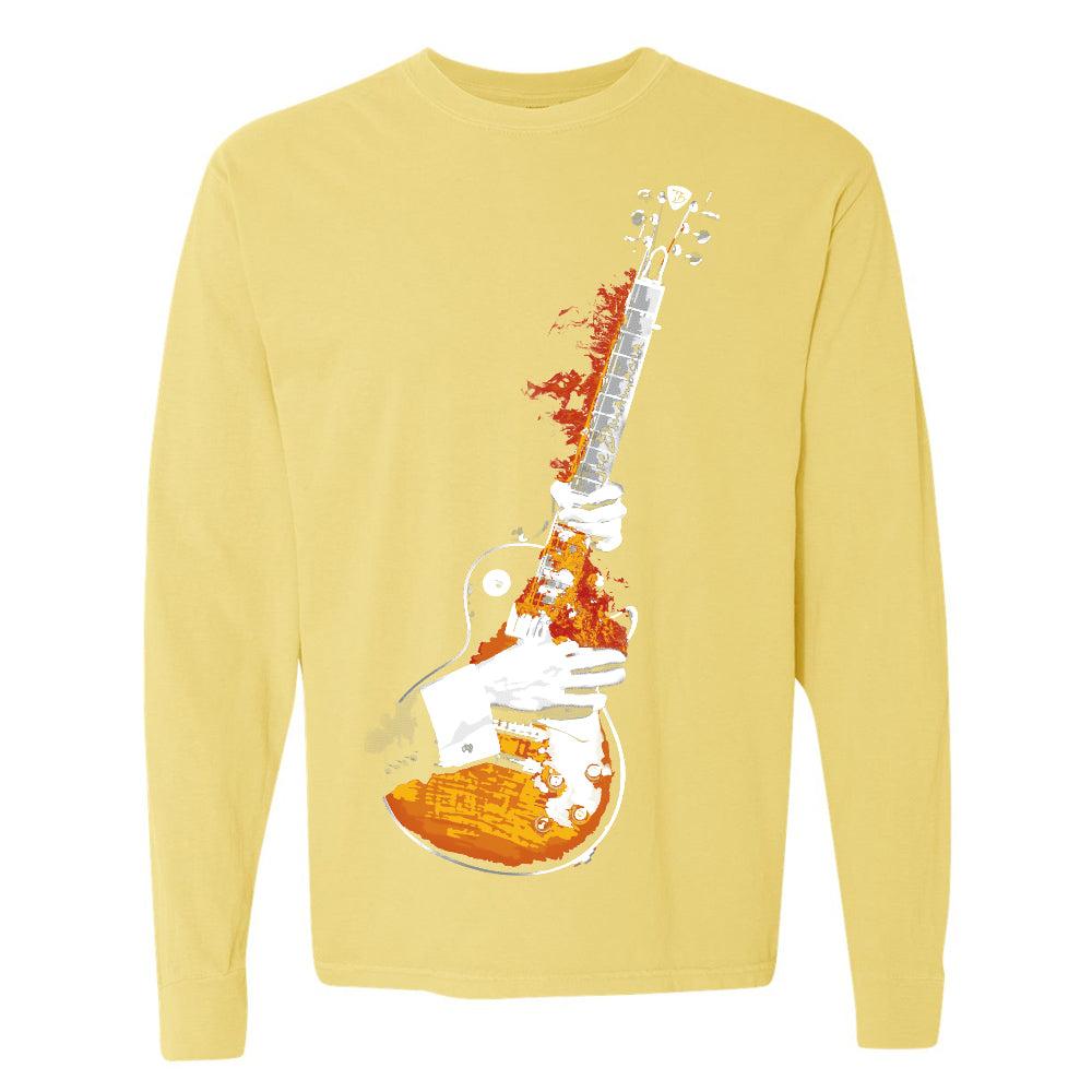 Blues On Fire Comfort Colors Long Sleeve T-Shirt (Unisex) - Butter