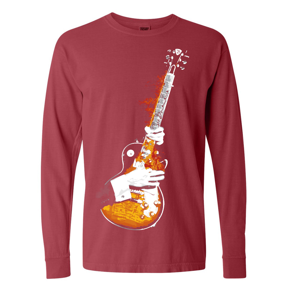 Blues On Fire Comfort Colors Long Sleeve T-Shirt (Unisex) - Crimson