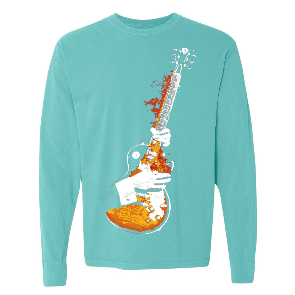 Blues On Fire Comfort Colors Long Sleeve T-Shirt (Unisex) - Lagoon