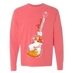 Blues On Fire Comfort Colors Long Sleeve T-Shirt (Unisex) - Watermelon