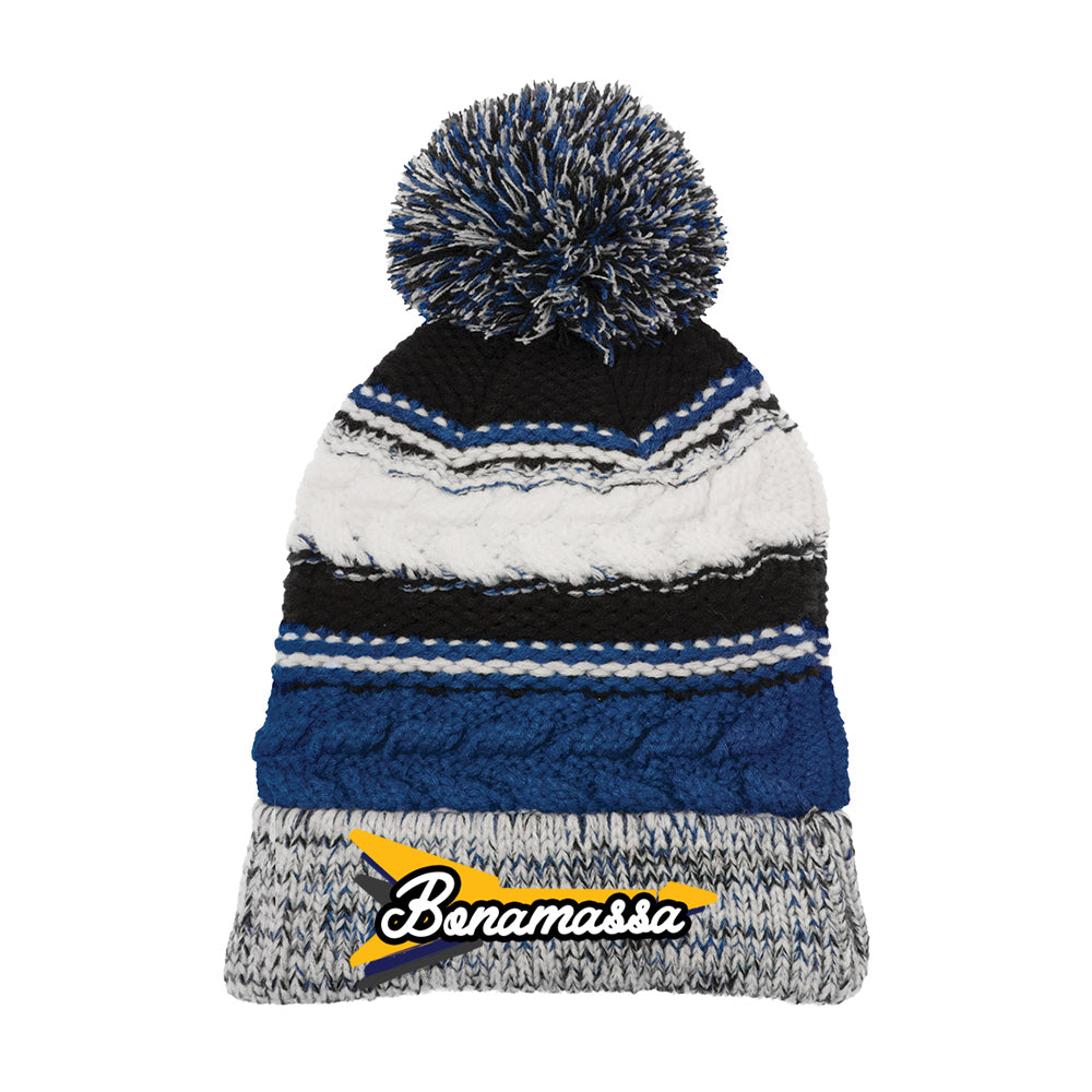 Triple Flying V Pom Pom Beanie - Royal Blue