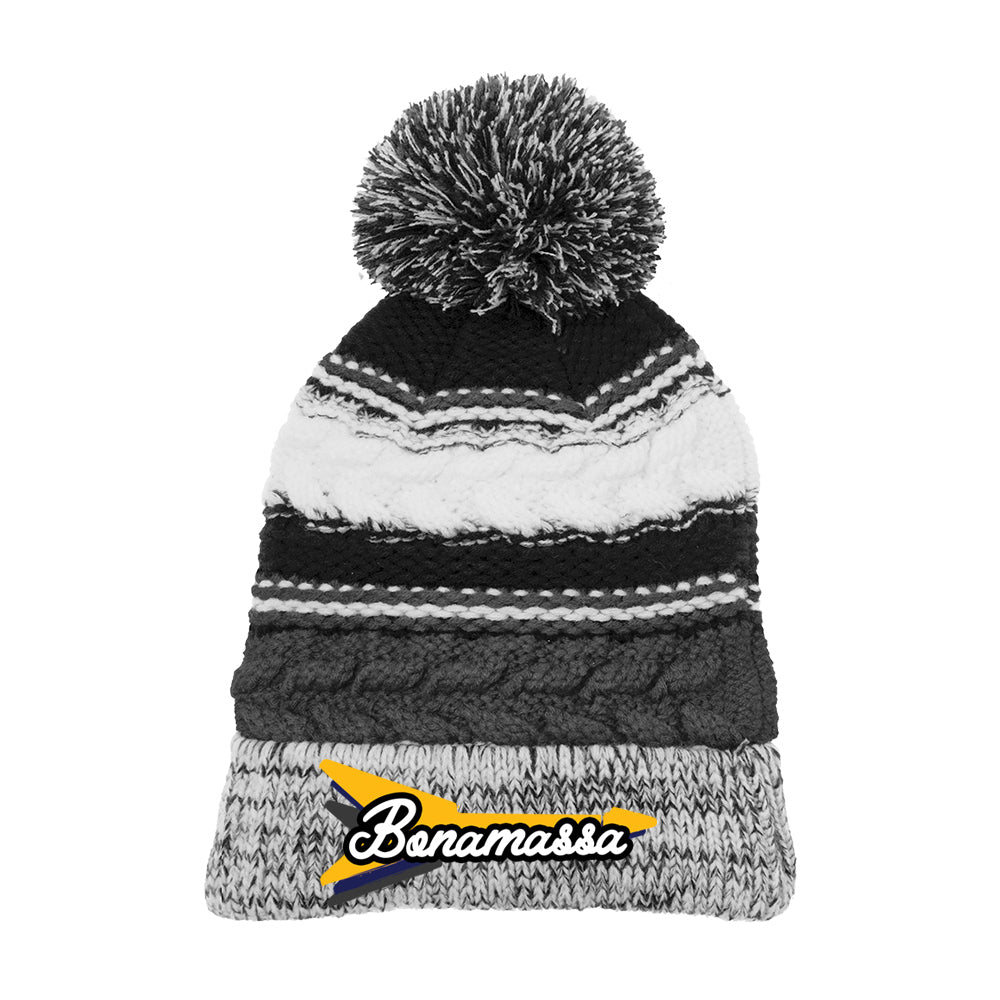 Triple Flying V Pom Pom Beanie - Black