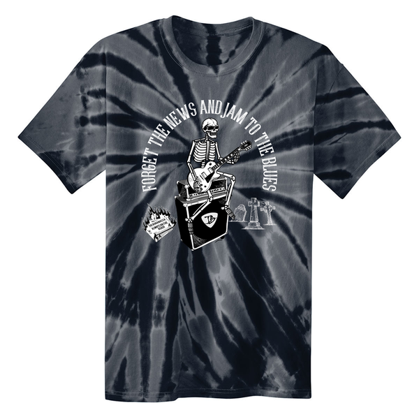 Forget the News and Jam to the Blues Tie Dye T-Shirt (Unisex) - Black