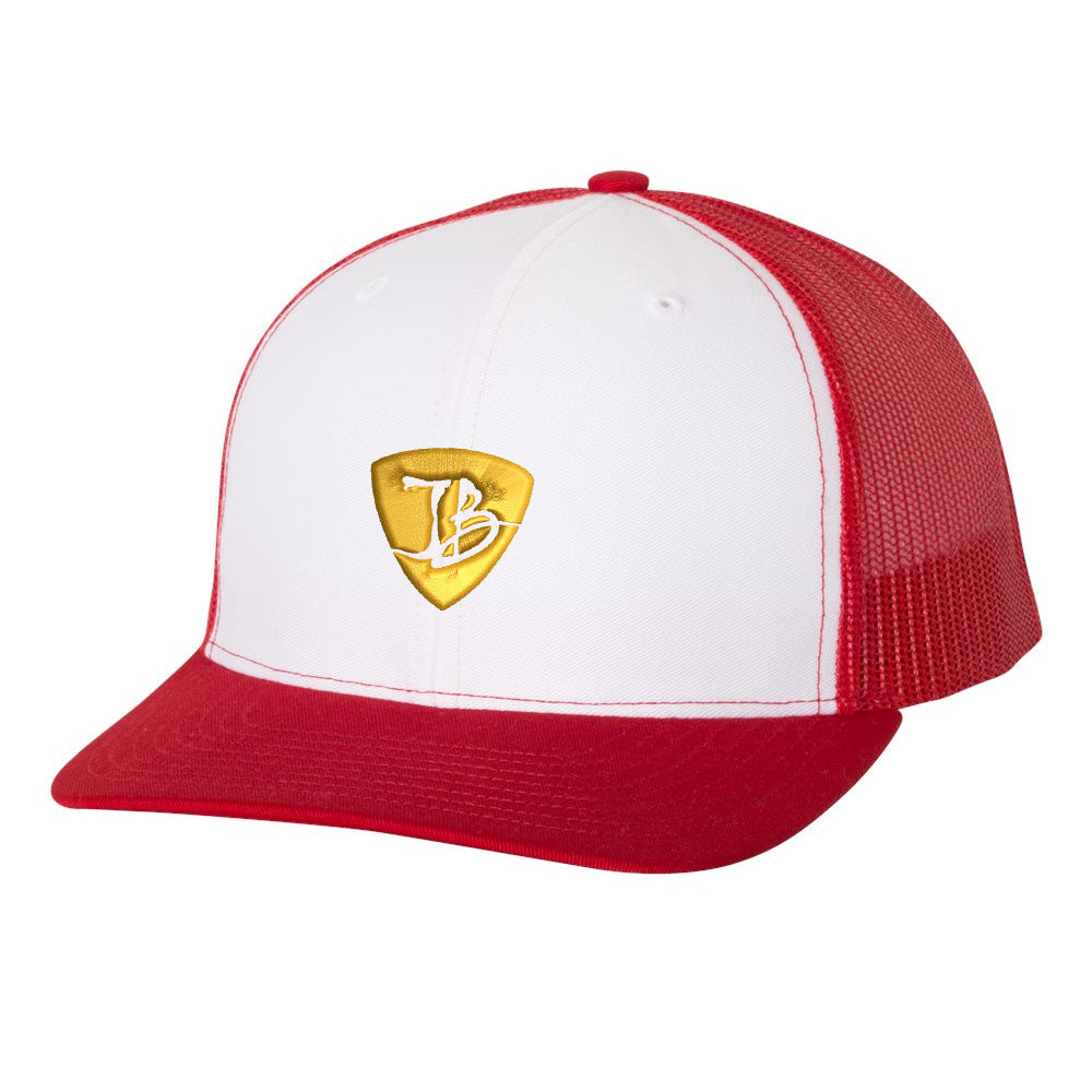 "JB Pick ""Puff"" Snapback Trucker Hat - White/Red"
