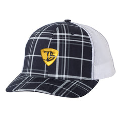 "JB Pick ""Puff"" Trucker Hat - Plaid/Navy"