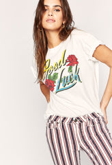 Good Luck Script Boyfriend T-Shirt - Vintage White