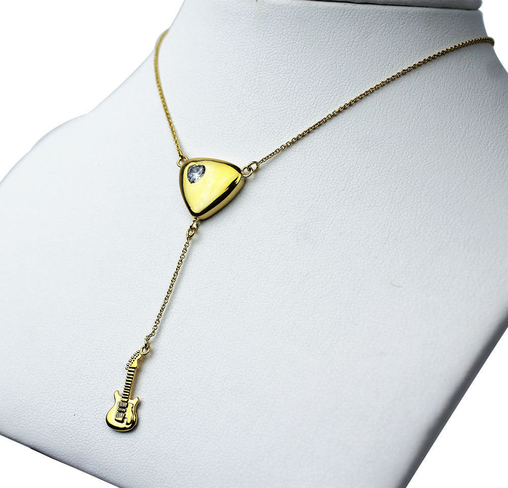 Guitar Drop Necklace - Gold