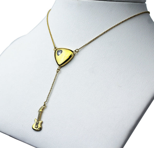 "Guitar Drop ""Y"" Necklace - Gold"