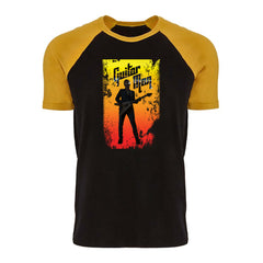 Guitar Man Poster Raglan T-Shirt (Men) - Gold/Black