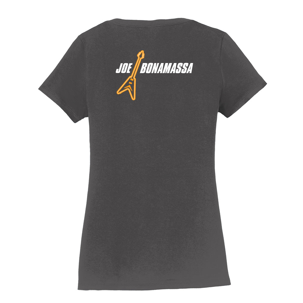 Guitar Man Logo V-Neck (Women) - Charcoal