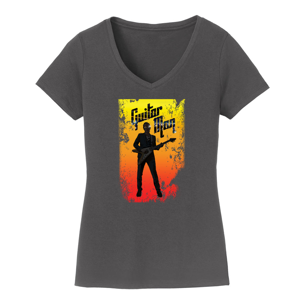 Guitar Man Poster V-Neck (Women) - Charcoal