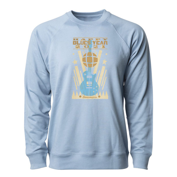 2021 Happy Blues Year Lightweight Crew Neck Long Sleeve (Unisex) - Misty Blue