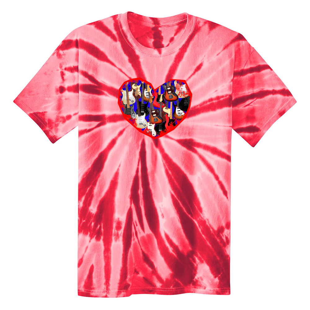 Red Heart of Guitars Tie Dye T-Shirt (Unisex) - Red