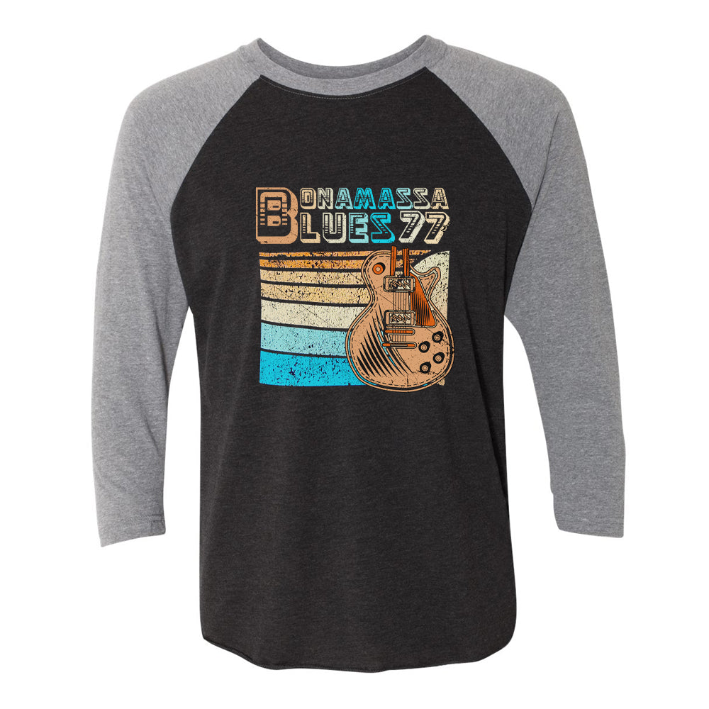 Retro Blues 3/4 Sleeve T-Shirt (Unisex) - Heather Grey/ Black
