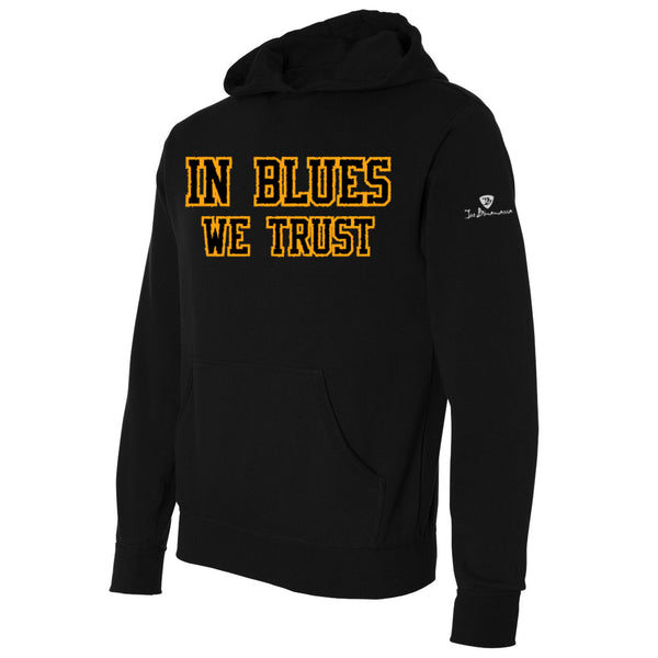 In Blues We Trust Applique Pullover Hoodie - Gold/Black (Unisex)
