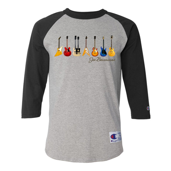 JB Guitars Champion Baseball T-Shirt (Unisex) - Black/Heather Grey