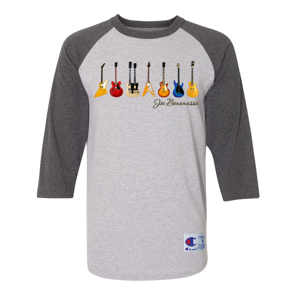 JB Guitars Champion Baseball T-Shirt (Unisex) - Charcoal/Heather Grey