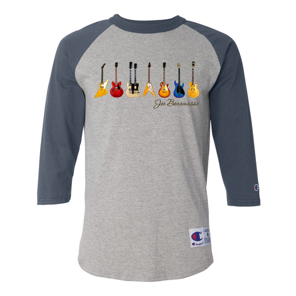 JB Guitars Champion Baseball T-Shirt (Unisex) - Navy/Heather Grey
