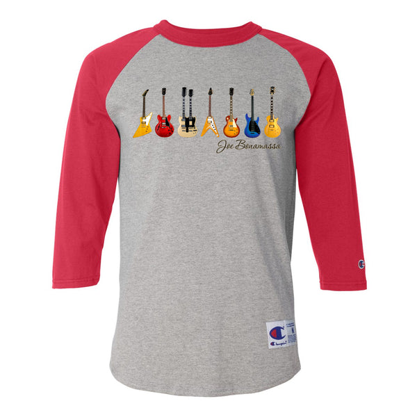 JB Guitars Champion Baseball T-Shirt (Unisex) - Red/Heather Grey