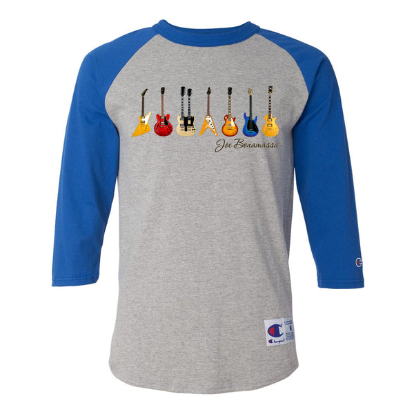 JB Guitars Champion Baseball T-Shirt (Unisex) - Royal/Heather Grey