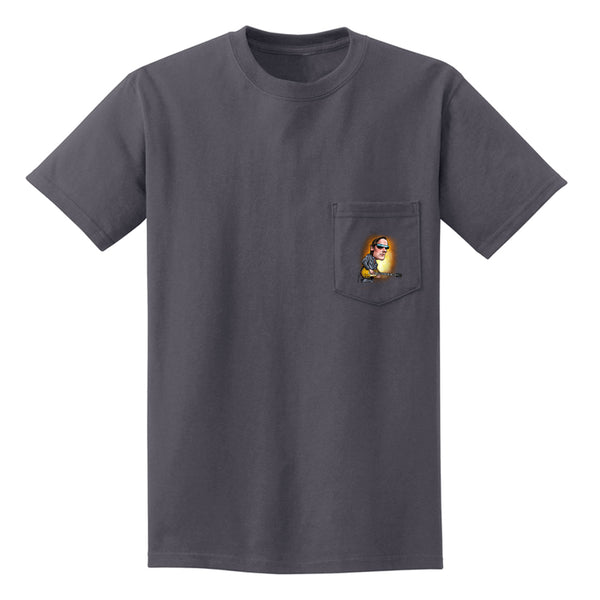 Joe Bonamassa & Skinnerburst Cartoon Pocket T-Shirt (Unisex) - Charcoal