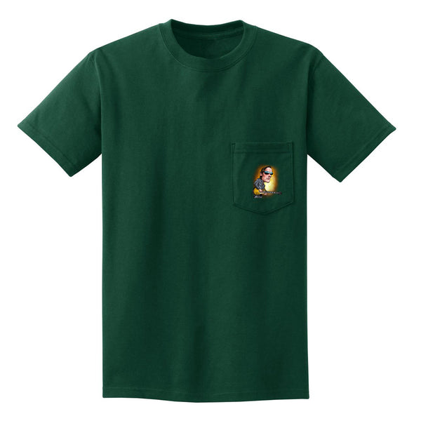 Joe Bonamassa & Skinnerburst Cartoon Pocket T-Shirt (Unisex) - Green